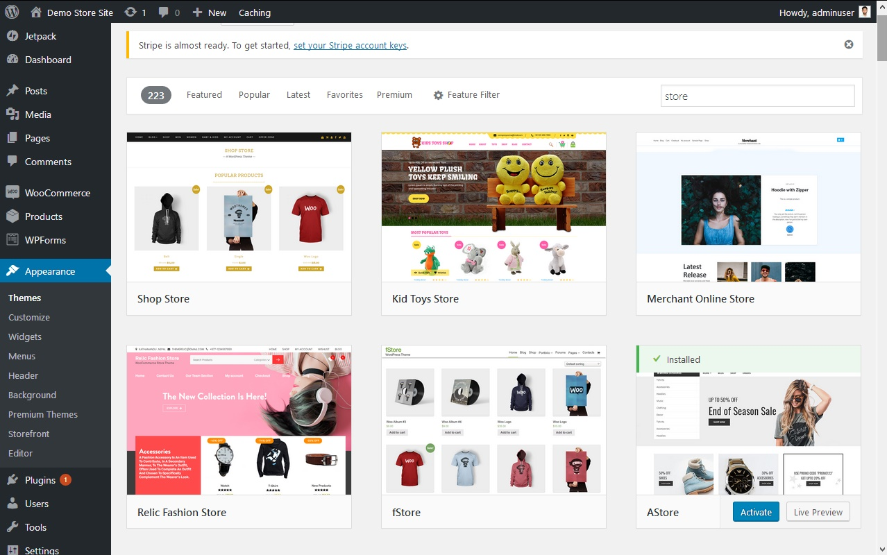Set  WooCommerce supporting WordPress theme