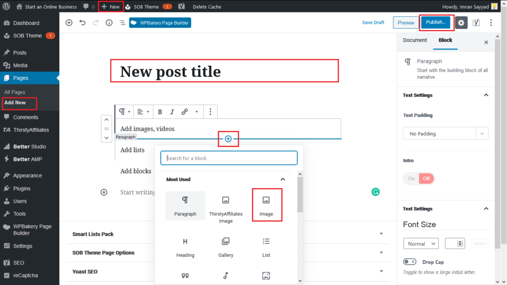 How to Publish Your First Wordpress Post/Page 1